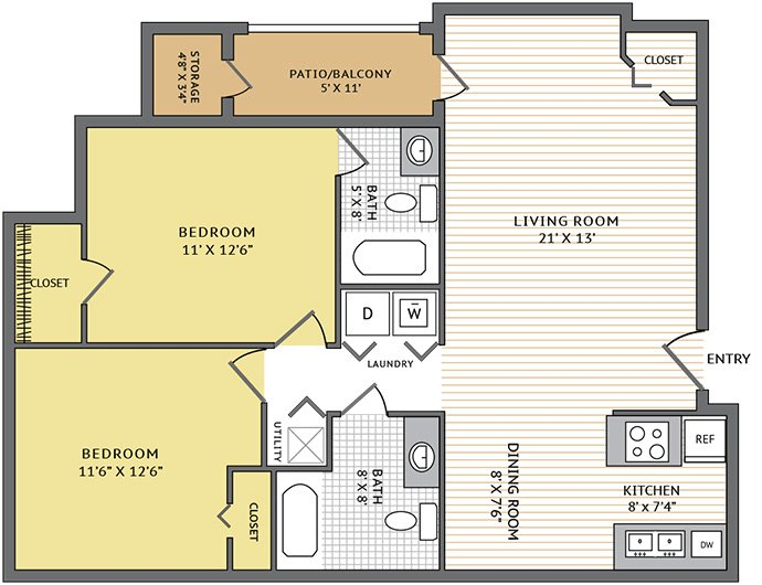 2 Bedrooms 2 Bathrooms Apartment for rent at Colonial Grand At Trinity Commons in Raleigh, NC