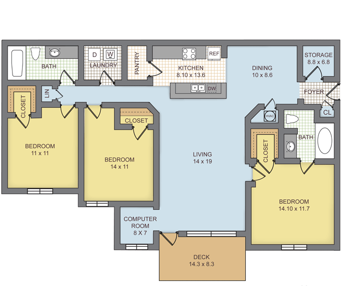 3 Bedrooms 2 Bathrooms Apartment for rent at Preserve At Brier Creek in Raleigh, NC