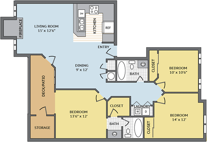 3 Bedrooms 2 Bathrooms Apartment for rent at Colonial Village At Matthews in Matthews, NC