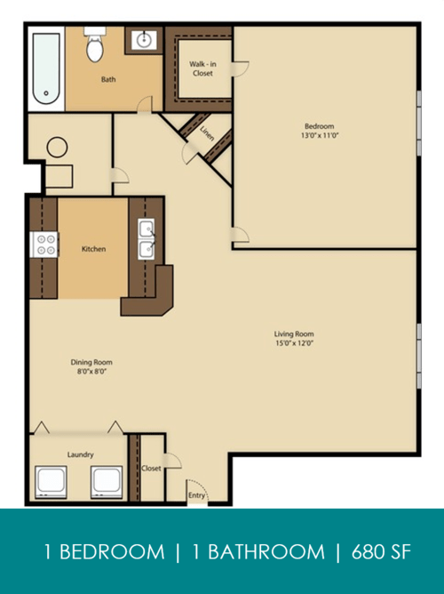1 Bedroom 1 Bathroom Apartment for rent at Reserve At Parkwick in Columbus, OH