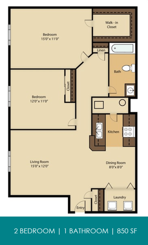 2 Bedrooms 1 Bathroom Apartment for rent at Reserve At Parkwick in Columbus, OH