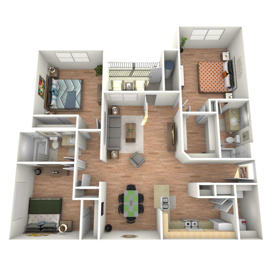 3 Bedrooms 2 Bathrooms Apartment for rent at Cypress Creek At Lakeline Boulevard in Cedar Park, TX