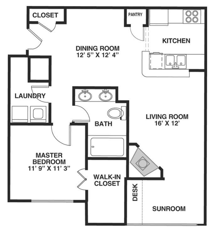 1 Bedroom 1 Bathroom Apartment for rent at Lake Clearwater in Indianapolis, IN