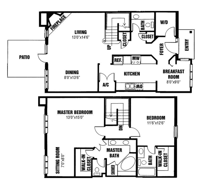 2 Bedrooms 3 Bathrooms Apartment for rent at Willow Lake in Indianapolis, IN
