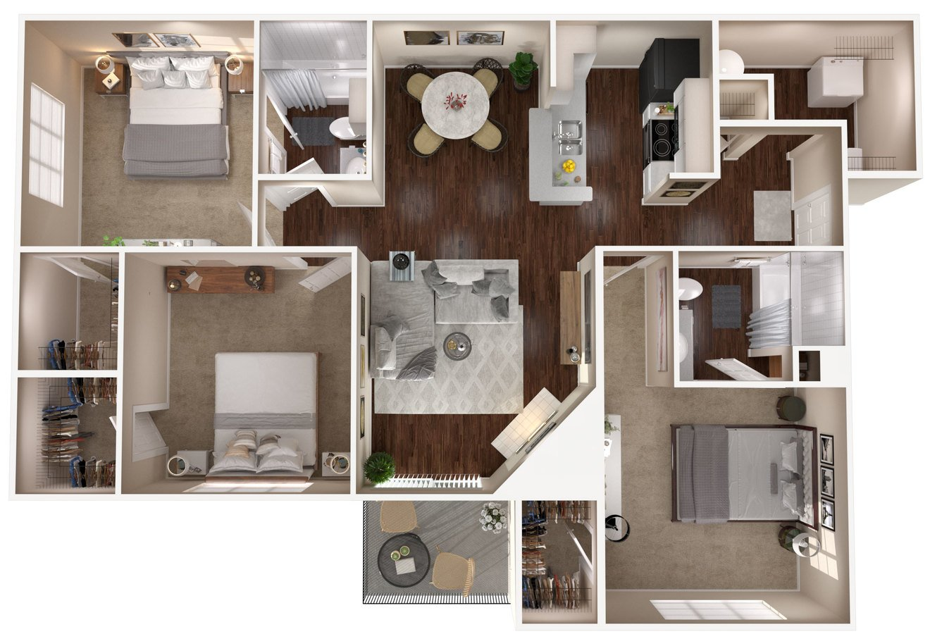 3 Bedrooms 2 Bathrooms Apartment for rent at The Lakes Apartments in Indianapolis, IN