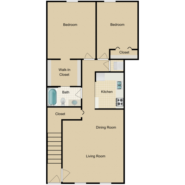 2 Bedrooms 1 Bathroom Apartment for rent at International City Apartments in Philadelphia, PA