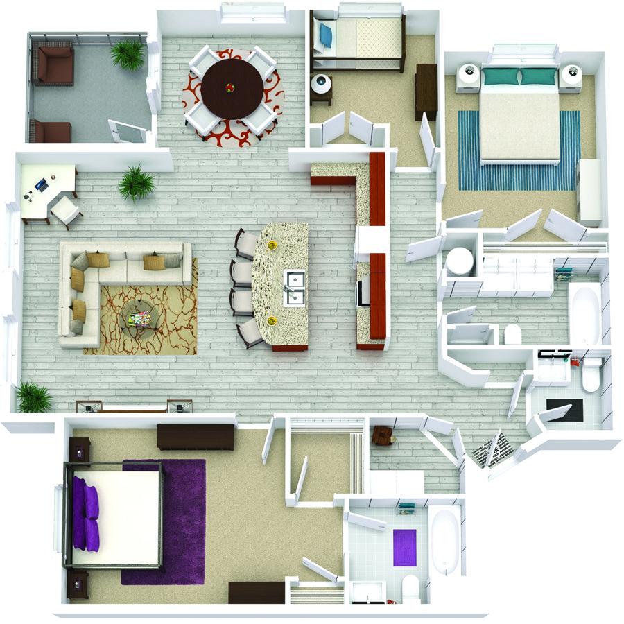 3 Bedrooms 2 Bathrooms Apartment for rent at Bricks Perimeter Center in Dunwoody, GA