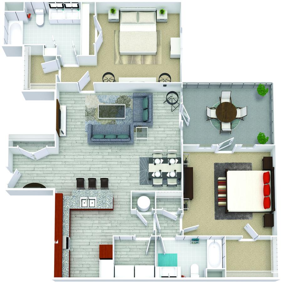 2 Bedrooms 2 Bathrooms Apartment for rent at Bricks Perimeter Center in Dunwoody, GA