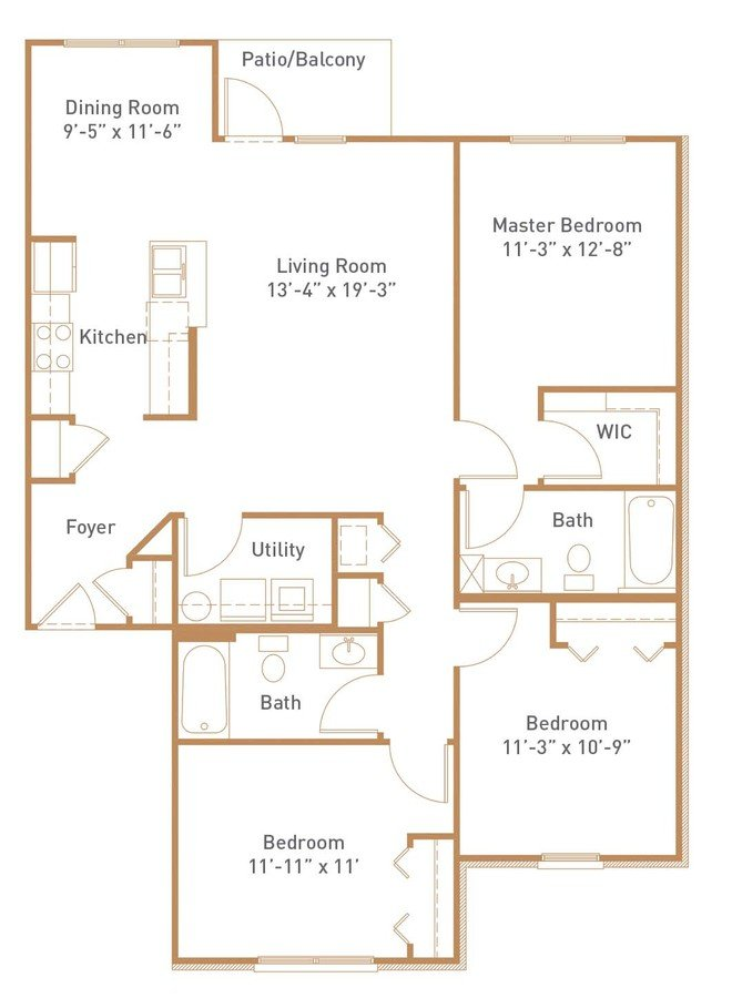 3 Bedrooms 2 Bathrooms Apartment for rent at Avellan Springs Apartments in Morrisville, NC