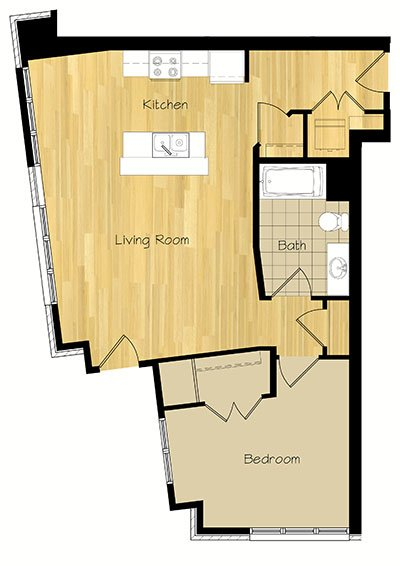 1 Bedroom 1 Bathroom Apartment for rent at The Hudson in Madison, WI