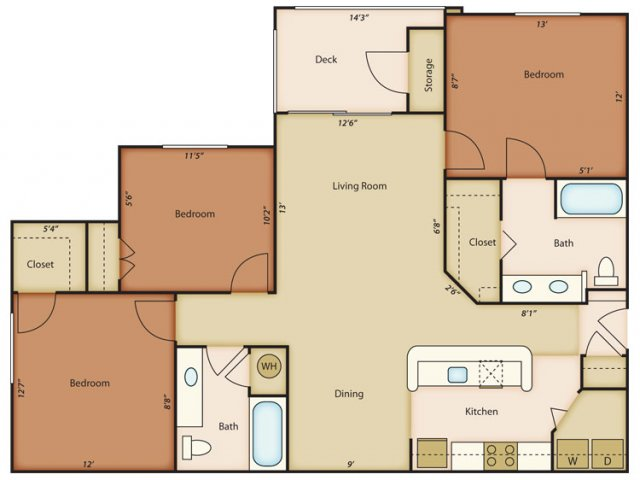 3 Bedrooms 2 Bathrooms Apartment for rent at Alden Place Apartment Homes in Durham, NC