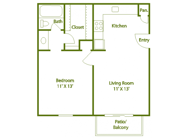 1 Bedroom 1 Bathroom Apartment for rent at The Trails At Mount Moriah in Memphis, TN