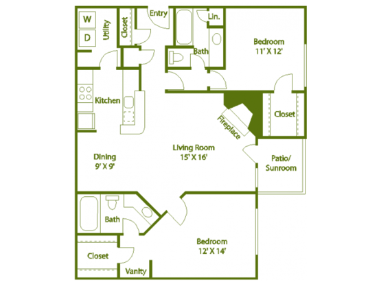 2 Bedrooms 2 Bathrooms Apartment for rent at The Trails At Mount Moriah in Memphis, TN