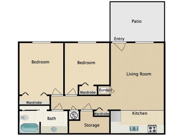 2 Bedrooms 1 Bathroom Apartment for rent at Town Park Villas 55+ Active Community in San Diego, CA