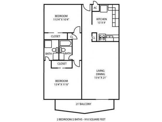 2 Bedrooms 2 Bathrooms Apartment for rent at Ridge At Chestnut in Kansas City, MO