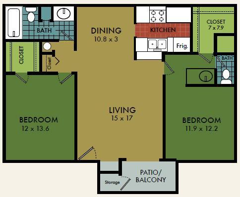 2 Bedrooms 2 Bathrooms Apartment for rent at City Summit in San Antonio, TX