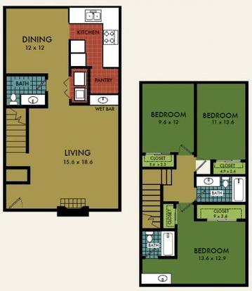 3 Bedrooms 3 Bathrooms Apartment for rent at City Summit in San Antonio, TX