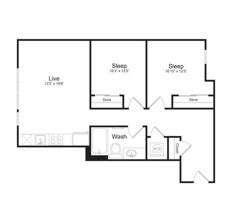 2 Bedrooms 1 Bathroom Apartment for rent at Mark On 8th in Seattle, WA