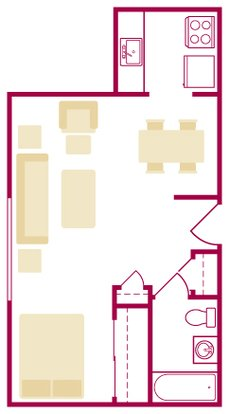 Studio 1 Bathroom Apartment for rent at Chamberlain I & Ii in Dayton, OH