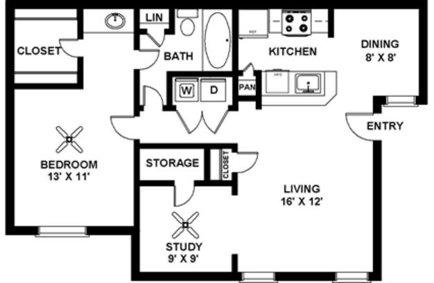 1 Bedroom 1 Bathroom Apartment for rent at Jordan Creek Apartments in Arlington, TX