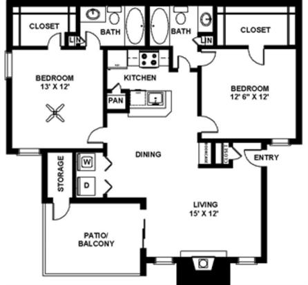 2 Bedrooms 2 Bathrooms Apartment for rent at Jordan Creek Apartments in Arlington, TX