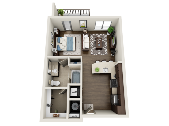 Studio 1 Bathroom Apartment for rent at Element Uptown in Charlotte, NC