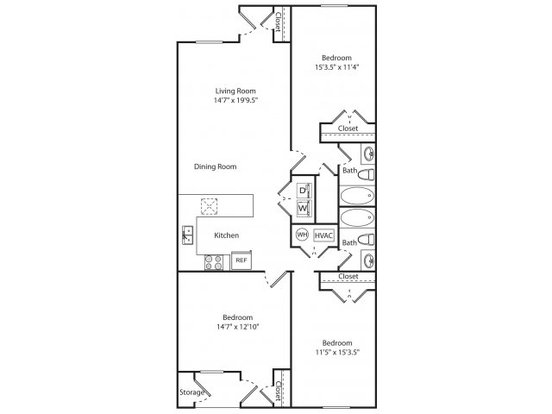 3 Bedrooms 2 Bathrooms Apartment for rent at Hampton Creste in Charlotte, NC