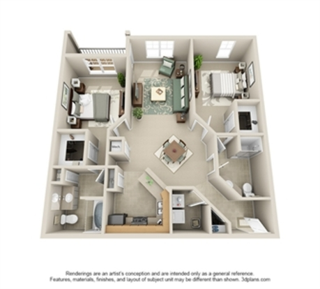 2 Bedrooms 2 Bathrooms Apartment for rent at The Crest At Galleria in Charlotte, NC