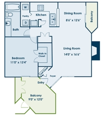 1 Bedroom 1 Bathroom Apartment for rent at Uptown Gardens in Charlotte, NC
