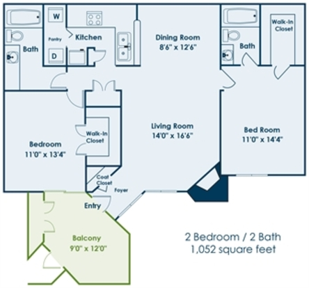 2 Bedrooms 2 Bathrooms Apartment for rent at Uptown Gardens in Charlotte, NC