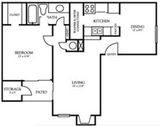 1 Bedroom 1 Bathroom Apartment for rent at Westwood Canyon Apartments in Arlington, TX