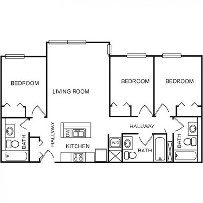 3 Bedrooms 3 Bathrooms Apartment for rent at Burnham310 in Champaign, IL