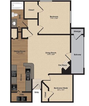 2 Bedrooms 1 Bathroom Apartment for rent at Park Laureate Apartments in Louisville, KY