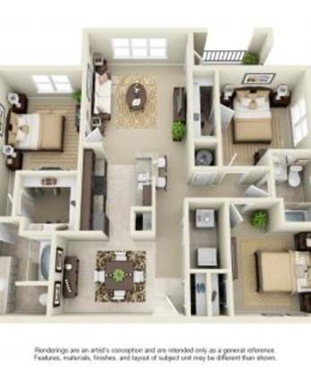 3 Bedrooms 2 Bathrooms Apartment for rent at Avana At The Rim in San Antonio, TX
