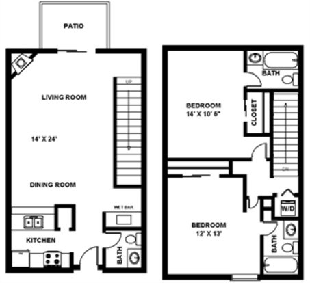 2 Bedrooms 3 Bathrooms Apartment for rent at Hillside Canyon Apartments in San Antonio, TX