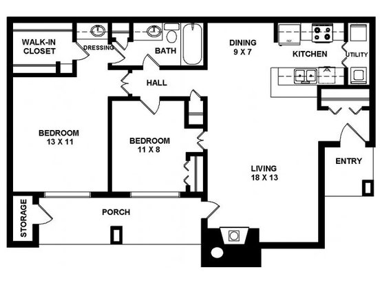 2 Bedrooms 1 Bathroom Apartment for rent at Panther Springs in San Antonio, TX