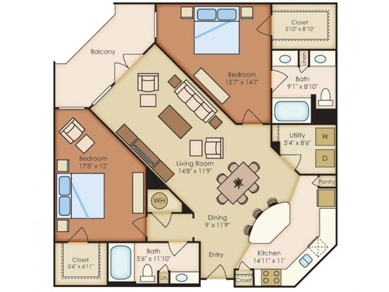 2 Bedrooms 2 Bathrooms Apartment for rent at Residences At La Cantera in San Antonio, TX