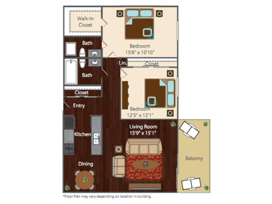 2 Bedrooms 2 Bathrooms Apartment for rent at The Edge Apartments in Denver, CO