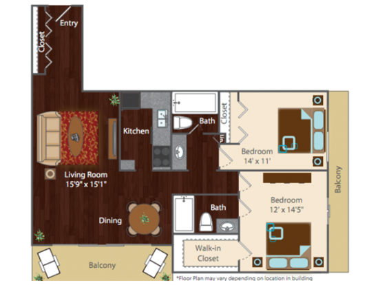 2 Bedrooms 2 Bathrooms Apartment for rent at Rise At Cherry Creek in Denver, CO