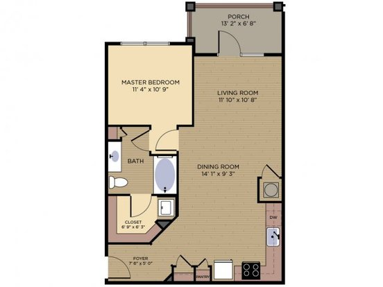 1 Bedroom 1 Bathroom Apartment for rent at Crescent At Alexander Village in Charlotte, NC