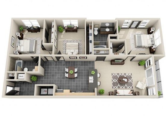 3 Bedrooms 2 Bathrooms Apartment for rent at Mosaic South End in Charlotte, NC