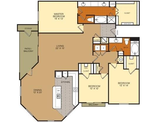 3 Bedrooms 2 Bathrooms Apartment for rent at Artessa At Quarry Village in San Antonio, TX