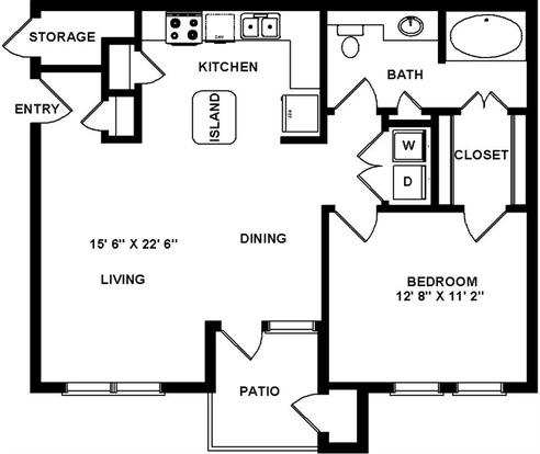 1 Bedroom 1 Bathroom Apartment for rent at Hillstone Ranch in San Antonio, TX