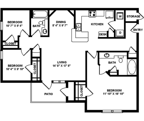 3 Bedrooms 2 Bathrooms Apartment for rent at Hillstone Ranch in San Antonio, TX