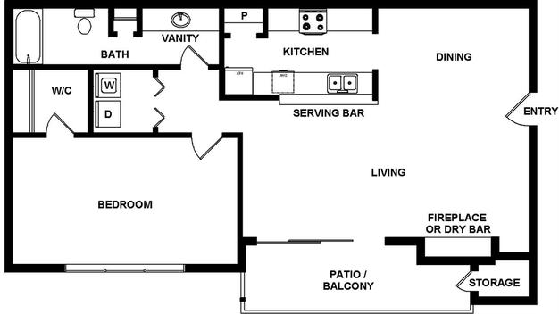 1 Bedroom 1 Bathroom Apartment for rent at Sedona Canyon in San Antonio, TX