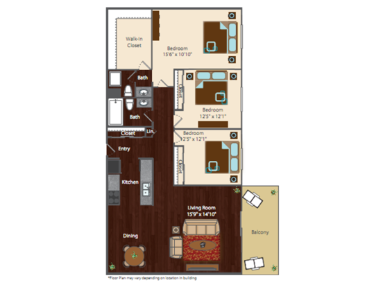 3 Bedrooms 2 Bathrooms Apartment for rent at The Edge Apartments in Denver, CO