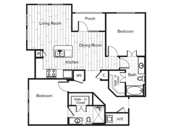 2 Bedrooms 2 Bathrooms Apartment for rent at Junction 1504 in Charlotte, NC