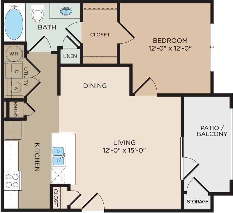 1 Bedroom 1 Bathroom Apartment for rent at The Bend At Crescent Pointe in College Station, TX