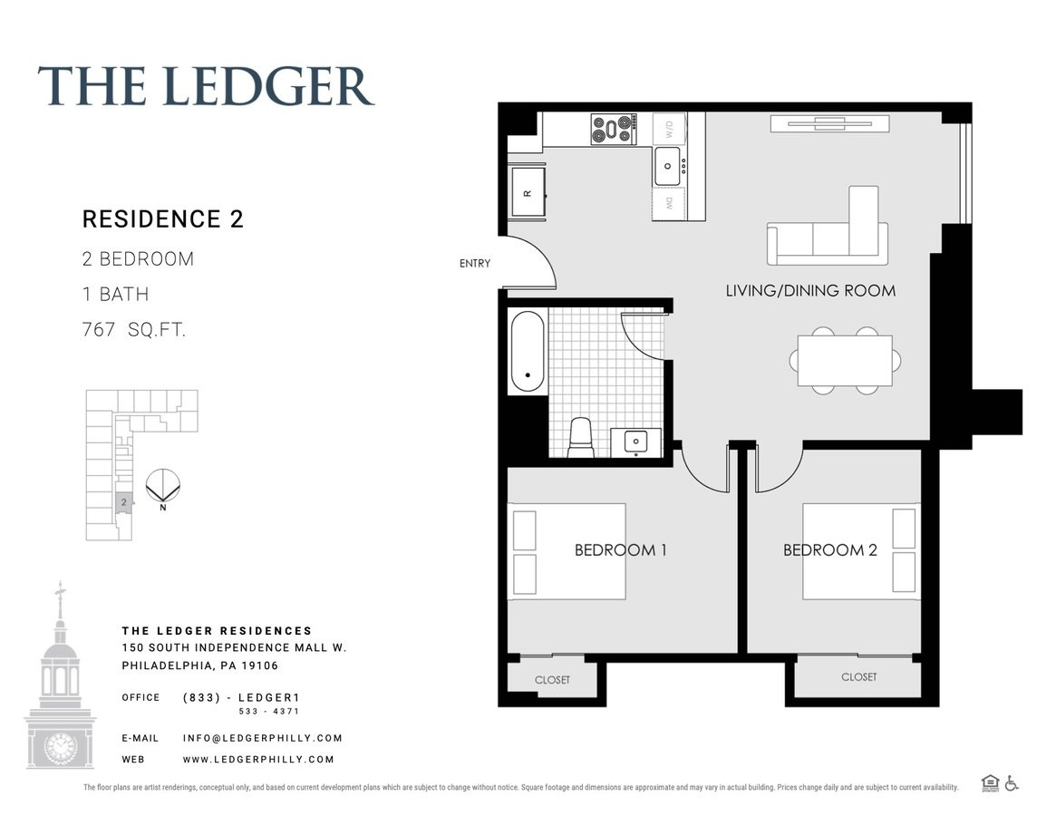 2 Bedrooms 1 Bathroom Apartment for rent at The Ledger Residences in Philadelphia, PA