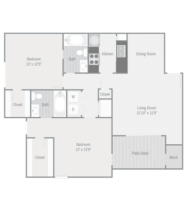 2 Bedrooms 1 Bathroom Apartment for rent at The Grove At Trinity Pointe in Cordova, TN